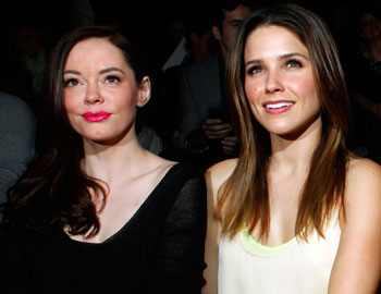 Rose McGowan and Sophia Bush at New York Fashion Week