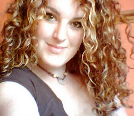 Curly woman with highlights