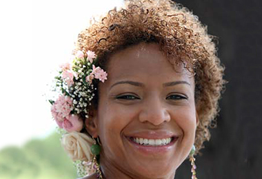 Flowers in Curly Bridal Hairstyles
