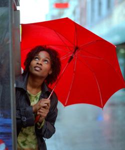 woman fears rain