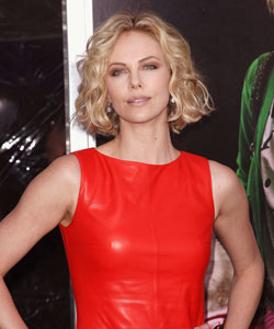 Charlize Theron with a curly bob