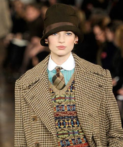 A model wearing a Ralph Lauren hat at New York City Fashion Week