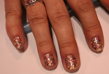A bejeweled mosaic press-on manicure