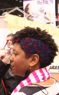 My multi-colored polka dot hair color pattern