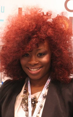 Beautiful bold red hair on an ABS attendee