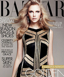 Taylor Swift with straight hair on the cover of Bazaar