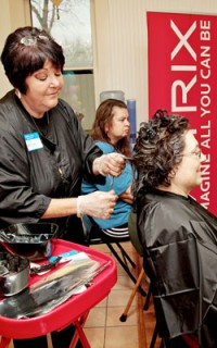 Styling hair at the Matrix Color-A-Thon