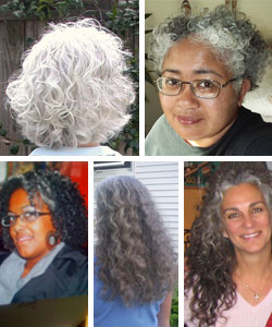 Women with grey curly hair