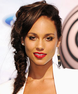Alicia Keys with a fishtail braid