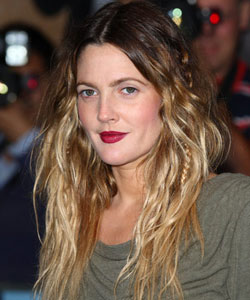 Drew Barrymore with loose braids
