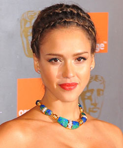Jessica Alba with a pair of delicate crown braids