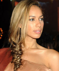 Leona Lewis with a fishtail braid