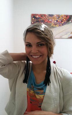 Tracey with a Saran Wrap headband