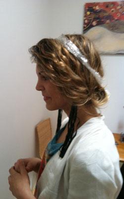 Tracey with a thin Saran Wrap headband
