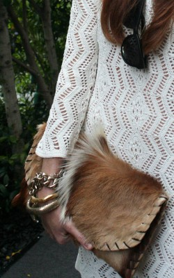 Real fur clutch