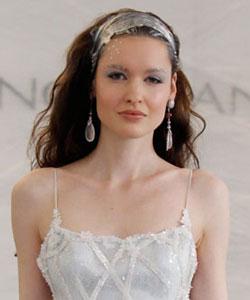 Model with a plastic wrap headband