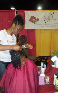 Getting styled at the Syuri Naturals booth