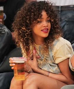 Rihanna at a Laker's game
