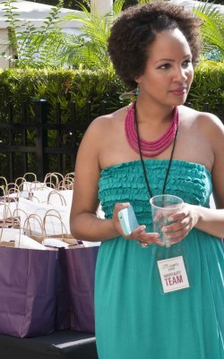 Stephanie watches over the goodie bags at the 2012 Curly Pool Party
