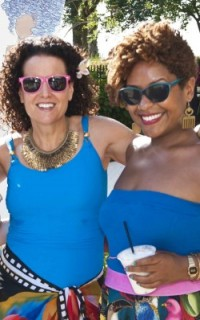 Michelle Breyer and Cassidy Blackwell at the 2012 Curly Pool Party