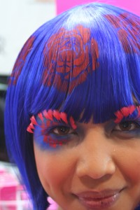 Stenciled airbrushed hair tattoos