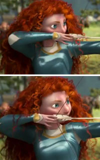 Princess Merida's Curly Hair shoots arrow