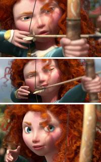 Princess Merida's Curly Hair shooting arrow