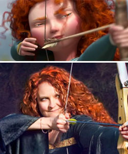 Princess Merida and Jessicurl with curly hair
