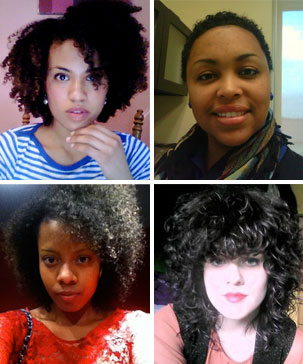 Four women with naturally curly hair