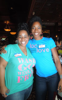 Ladies wearing Wash and Go Fro and Loc Love T-shirts