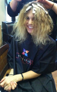 Tracey Wallace getting hair color