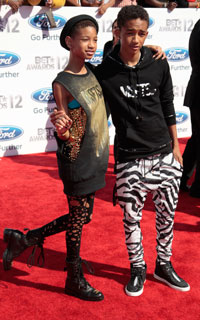 Willow and Jaden Smith on the red carpet at 2012 BET awards