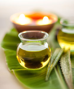 Natural aloe leaves, oil and candles