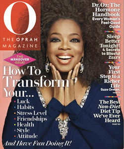 Oprah with a naturally curly hairstyle on the cover of O magazine
