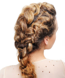 rear view of curly hair braided