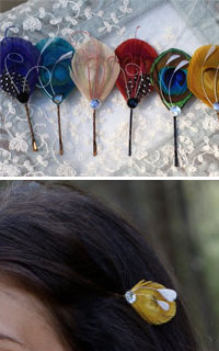 feather hair Pins