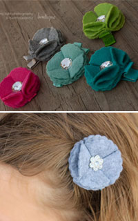 felt hair Flower clips