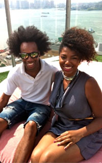 Kala Garner with a natural haired guy in NYC for fall fashion week 2012