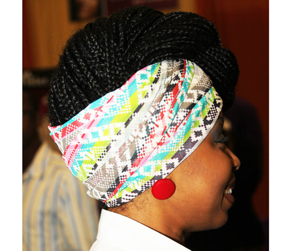 braided twisted pompadour updo with head scarf
