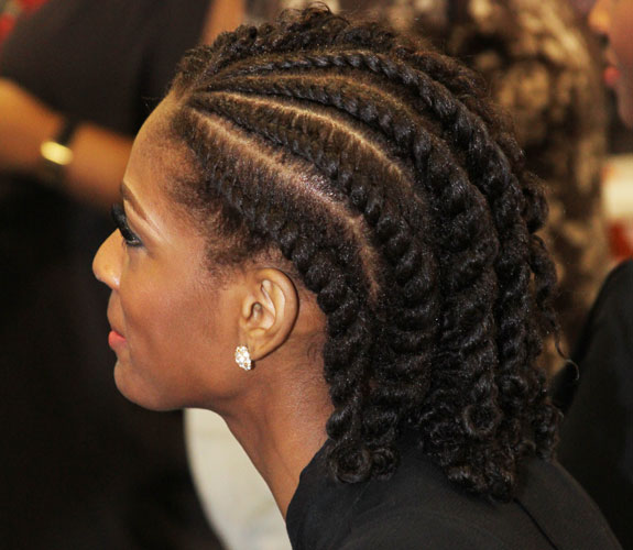 flat twists to the back undone on the side