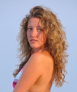 Lady with beach wave curls