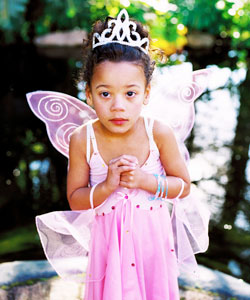 Girl in a curly fairy costume