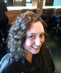 Nicole Binnicker after her finished cut and style