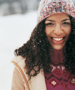 snow in curly hair