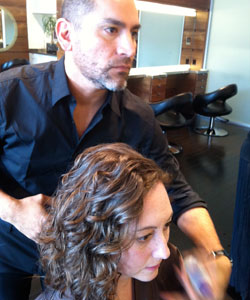 Styling Nicole's new curly cut