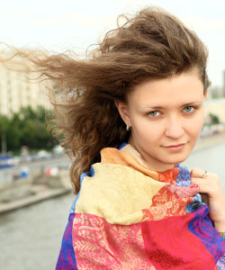 wind blowing wavy hair