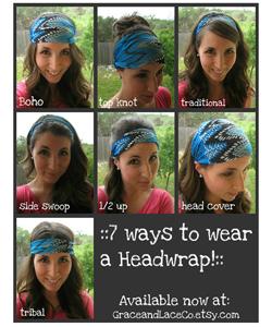 Boho Chiffon Headwrap - Aztec headband - turban hair wrap head covering head scarf head wrap