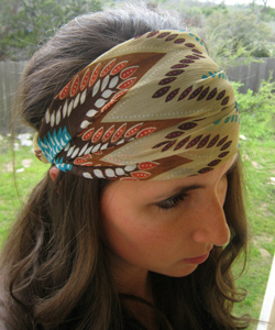 Boho Chiffon Headwrap - Aztec headband - turban hair wrap head covering head scarf head wrap