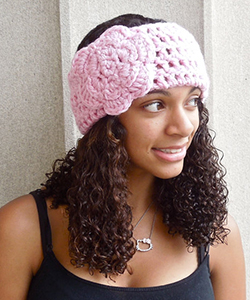 Crochet Headband, Ear Warmer With Flower, Pink, Women, Teen, Adult