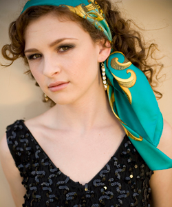 teal scarf over curls